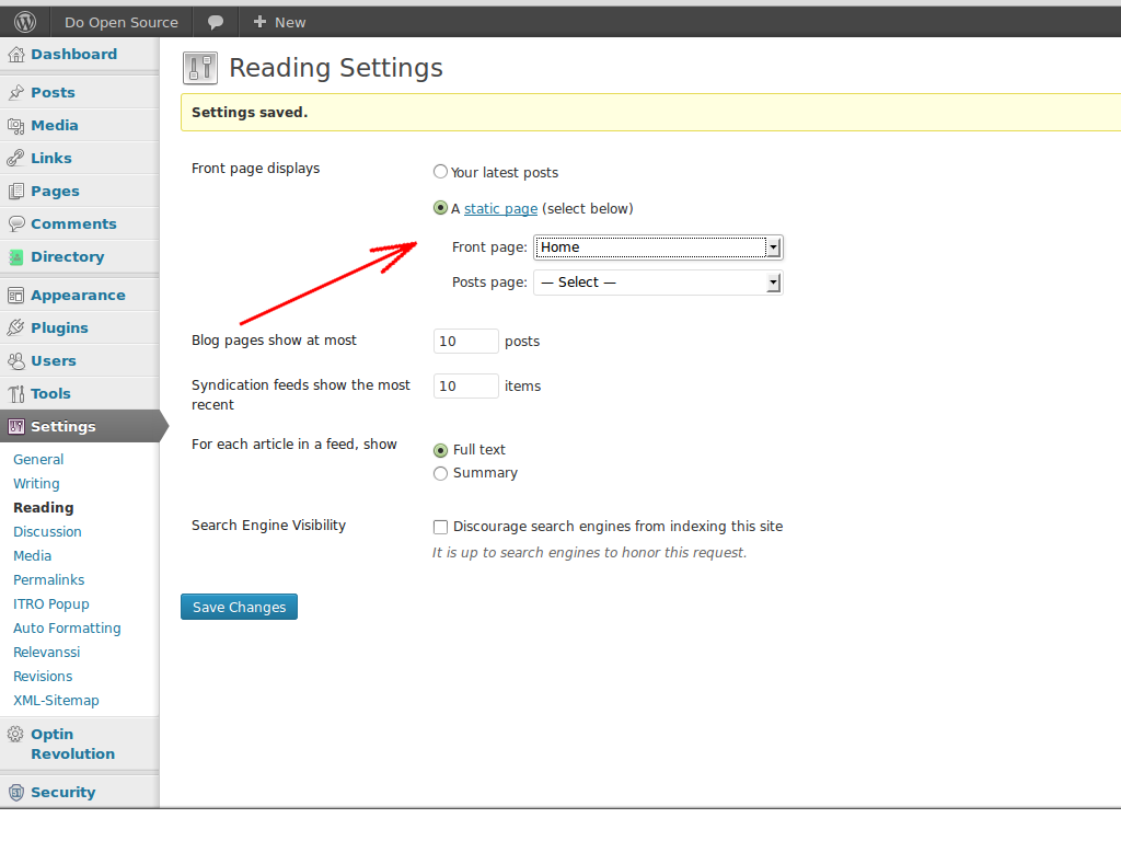 Change WordPress Reading Settings to use Home Page as the site main page