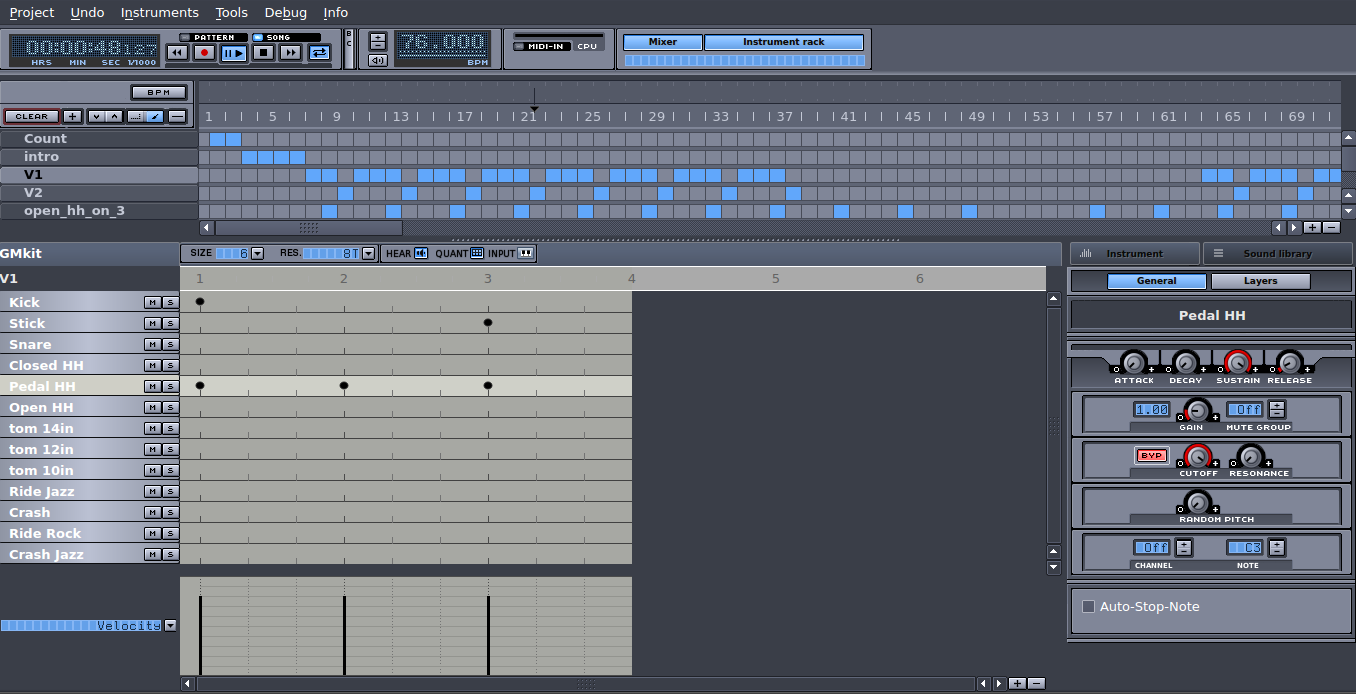 Open source music software: laying down drums